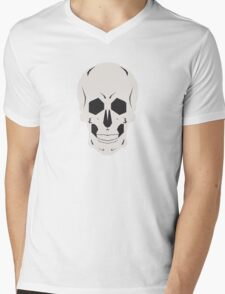 Simplistic Symmetrical Skull Design Mens V-Neck T-Shirt