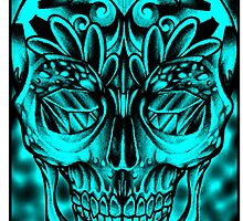 Candy skull cyan iphone case by Thirteen7s