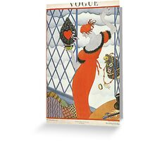 Vogue Cover 1921 Red Dress Greeting Card