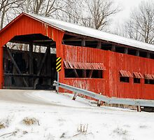 Dunbar Covered Bridge with Snow by Kenneth Keifer