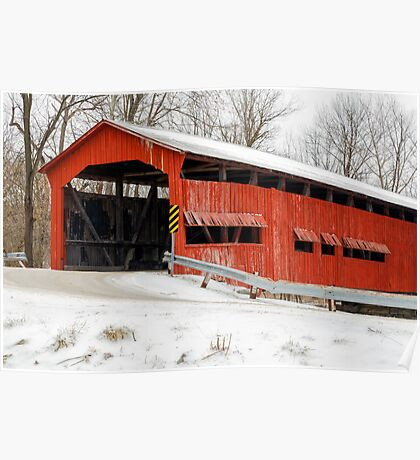 Dunbar Covered Bridge with Snow Poster