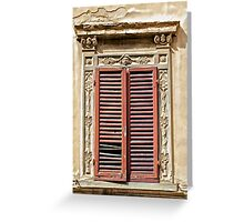 Weathered Red Wood Window Shutters of Tuscany  Greeting Card