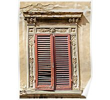Weathered Red Wood Window Shutters of Tuscany  Poster