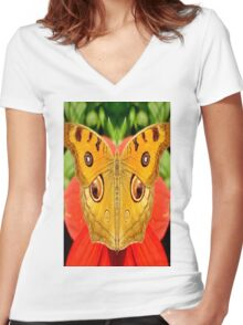 Meadow Argus Butterfly Women's Fitted V-Neck T-Shirt