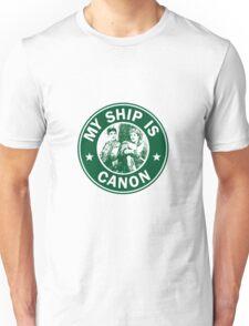 Starbucks/My Ship Is Canon- Merthur Unisex T-Shirt
