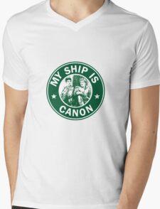 Starbucks/My Ship Is Canon- Merthur Mens V-Neck T-Shirt