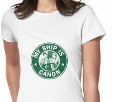 Starbucks/My Ship Is Canon- Merthur Womens Fitted T-Shirt