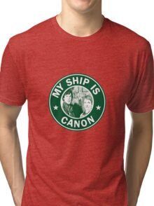 Starbucks/My Ship Is Canon- Johnlock Tri-blend T-Shirt