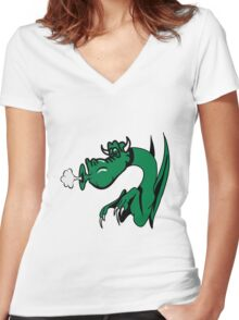 Dragon blow funny funny design comics Women's Fitted V-Neck T-Shirt