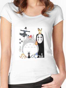 Totoro all Studio Ghibli Gang Women's Fitted Scoop T-Shirt