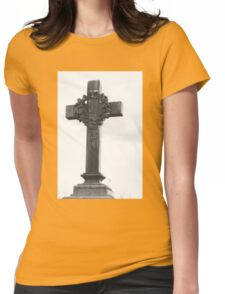 Cemetery Crucifix Womens Fitted T-Shirt