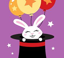 Rabbit in magicians hat with balloons and stars by MheaDesign