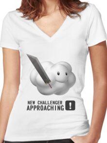 Cloud SSB4 Parody (Super Smash Bros 4) Women's Fitted V-Neck T-Shirt