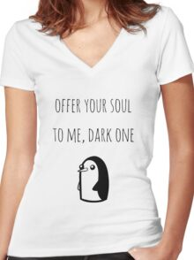 Offer Your Soul To Me, Dark One Women's Fitted V-Neck T-Shirt