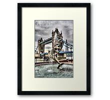 Tower Bridge and the Girl and Dolphin Statue Framed Print