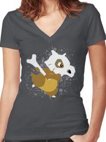 Cubone Splatter Women's Fitted V-Neck T-Shirt