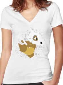 Cubone Splatter Women's Fitted V-Neck T-Shirt