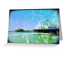 Blue Santa Monica Pier Greeting Card