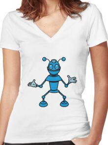 Robot funny cool toys funny antennas comic Women's Fitted V-Neck T-Shirt