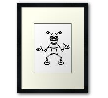 Robot funny cool toys funny antennas comic Framed Print