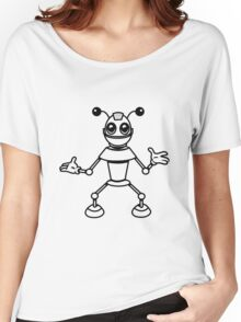Robot funny cool toys funny antennas comic Women's Relaxed Fit T-Shirt