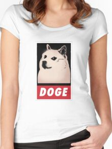 DOGE OBEY-style Women's Fitted Scoop T-Shirt