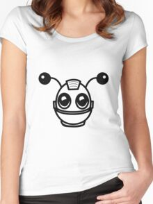 Robot funny cool toys fun antennas Women's Fitted Scoop T-Shirt