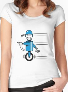 Funny cool fast funny goofy robot comic Women's Fitted Scoop T-Shirt