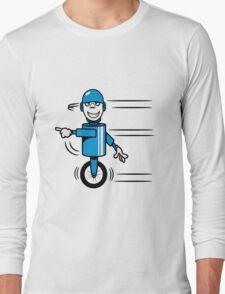 Funny cool fast funny goofy robot comic Long Sleeve T-Shirt