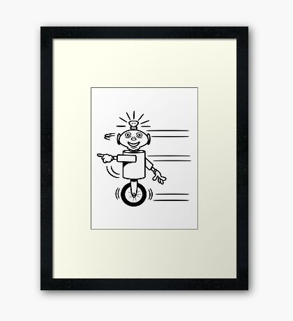 Robot funny cool fast funny dick comic Framed Print