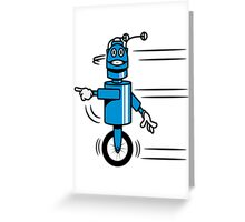 Funny cool fast funny robot comic Greeting Card