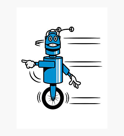 Funny cool fast funny robot comic Photographic Print