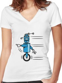 Funny cool fast funny robot comic Women's Fitted V-Neck T-Shirt