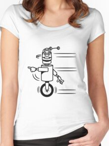 Funny cool fast funny robot comic Women's Fitted Scoop T-Shirt