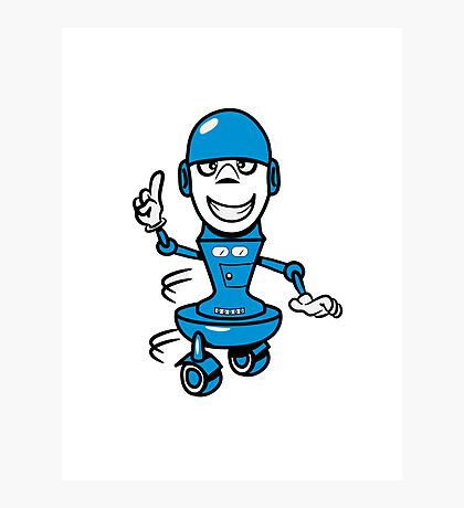 Funny cool comic wheels funny robot Photographic Print
