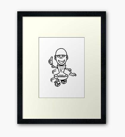 Funny cool comic wheels funny robot Framed Print