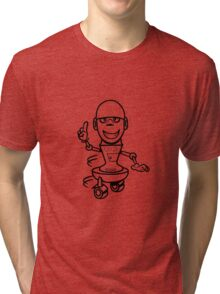Funny cool comic wheels funny robot Tri-blend T-Shirt