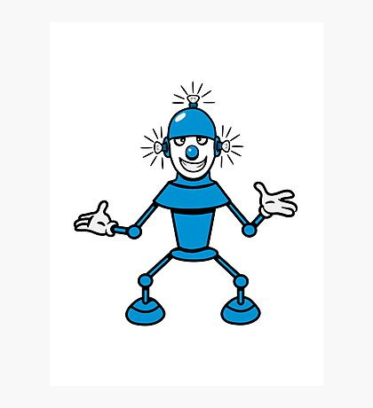 Robot funny cool light up comic fun Photographic Print