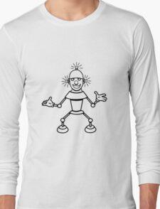 Robot funny cool light up comic fun Long Sleeve T-Shirt