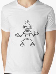Robot funny cool light up comic fun Mens V-Neck T-Shirt