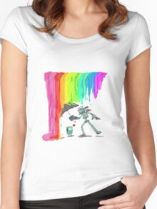 Robo Rainbow Respite Women's Fitted Scoop T-Shirt