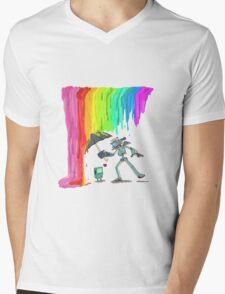 Robo Rainbow Respite Mens V-Neck T-Shirt