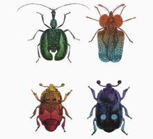 Vintage Beetles Illustration One Piece - Short Sleeve