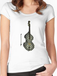 Upright Bass Vintage Illustration Women's Fitted Scoop T-Shirt