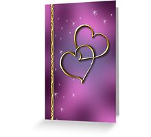 Two Gold Hearts Greeting Card