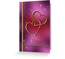 Grandparents Day Two Gold Hearts Greeting Card