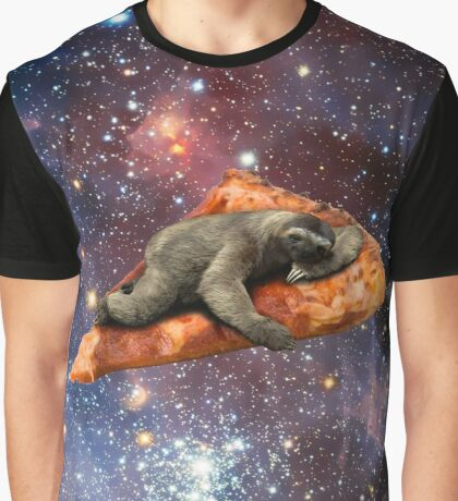 Pizza Sloth In Space Graphic T-Shirt