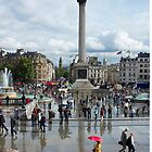 Showery day in Trafalgar Square. by Vincent Abbey