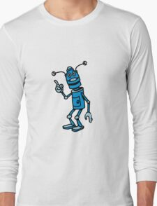 Robot funny cool attention fun comic Long Sleeve T-Shirt