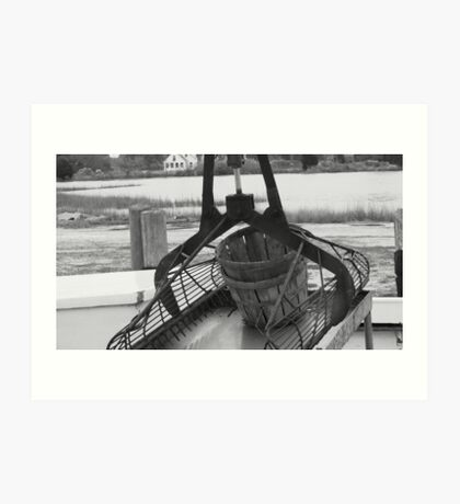 Patent Tongs on Oyster Boat, Scotts Cove_BW Art Print